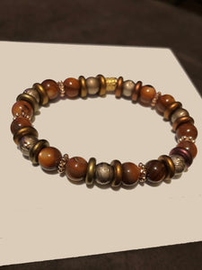 Red Jasper Beads, Hematite and Gold Metal Accents