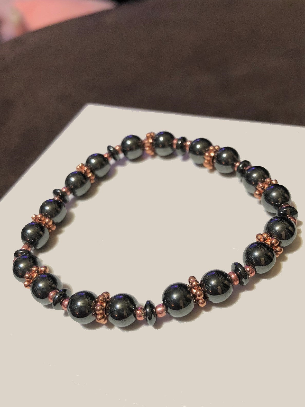 Hematite Beads with Rose Gold Metal Accents