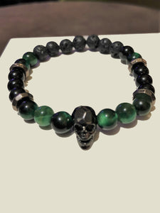 Black Tourmaline, Grey Hematite Green Jade & Lava Rock Beads with Black Skull