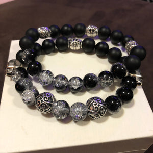 Men's Obsidian Skull and Metal Accents