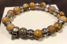 Men's Picture Jasper with Metal Skulls and Metal Accents