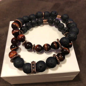 Men's Red Tigers Eye Lava Rock & Red Metal Accents