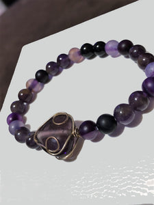 Amethyst beads with Large Wire Wrapped Amethyst Crystal
