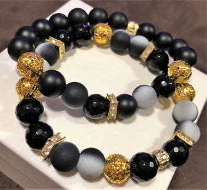 Men's Obsidian Onyx with Gold CZ and Gold Accents