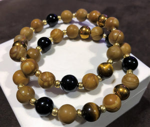Men's Tigers Eye Obsidian Jasper & Gold Hematite with Gold Accents