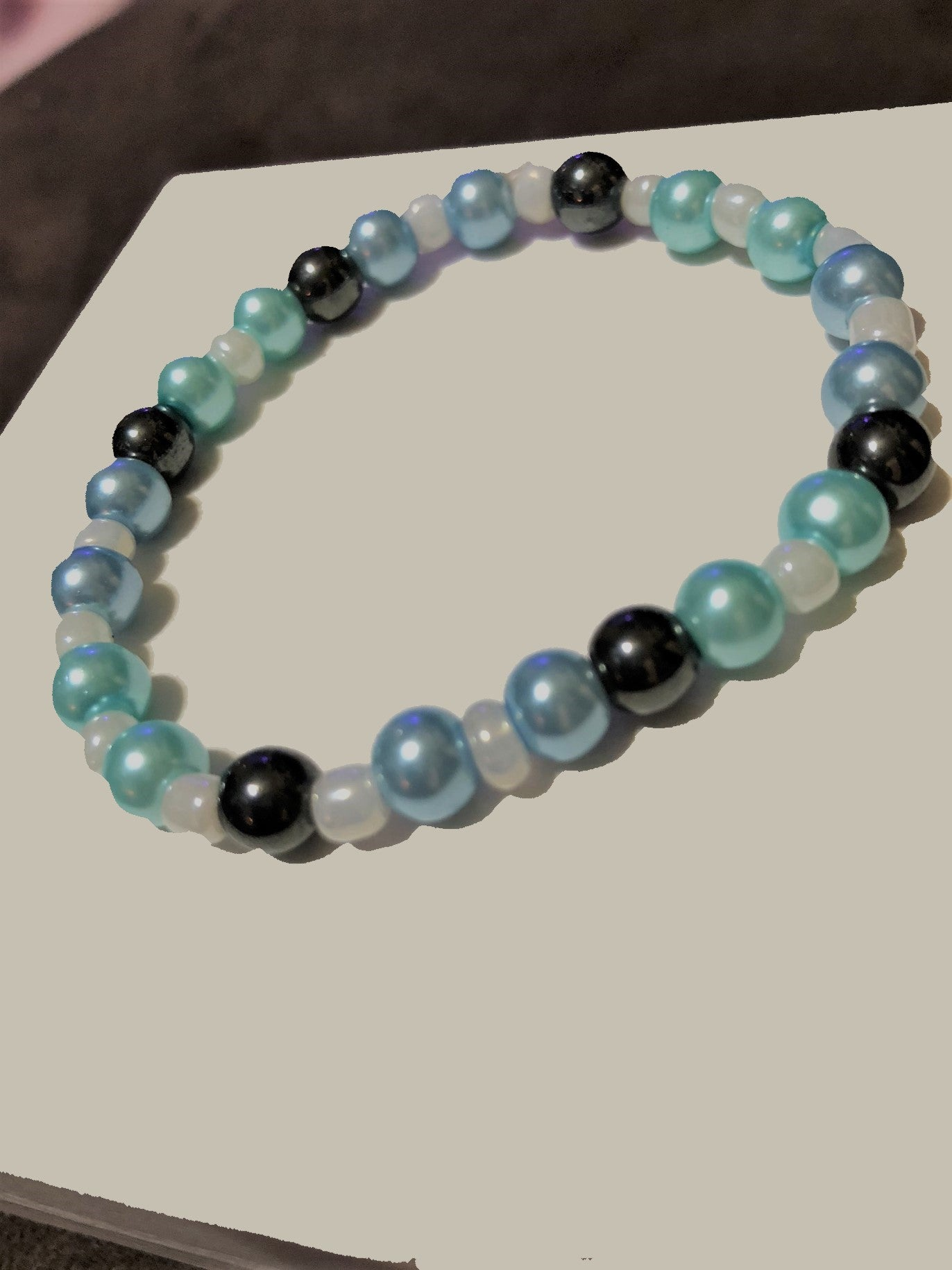 Hematite, Pearls with Opaque Glass Accents