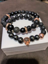 Men's Rose Gold Hematite Onyx & Lava Rock with Rose Gold CZ Skull Gunmetal CZ &  Metal Accents