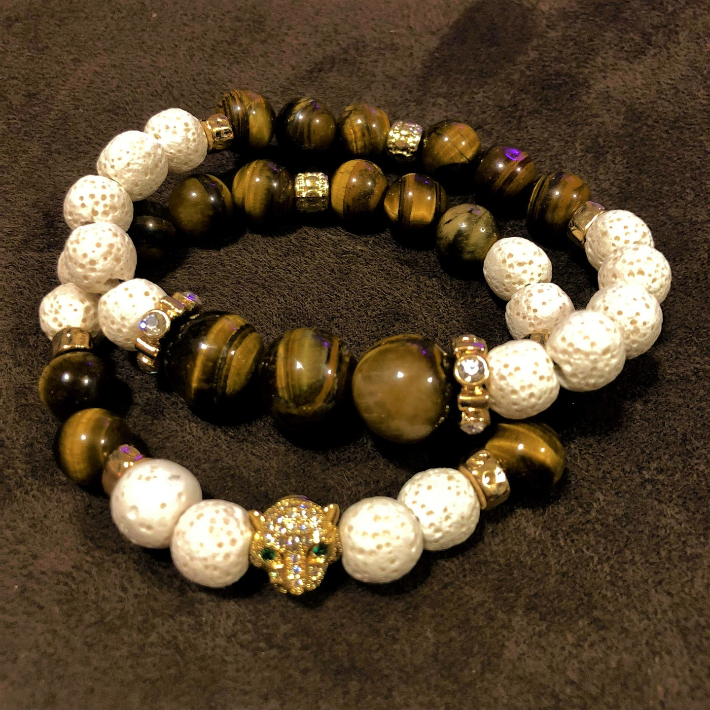 Men's Tigers Eye and White Lava Rock with Gold CZ Leopard Head & Gold CZ Accents