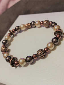 Rose Gold Hematite, Lava Rock, Pearls & Rose Metal Accents