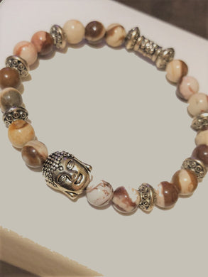 Buddha with Australian Jasper Beads and Metal Accents