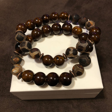 Men's brown Agate bracelet set with metal spacers