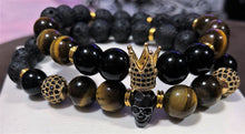 Men's Tigers Eye and Lava Rock with Gold CZ Kings Crown Black Skull & Gold CZ Accents