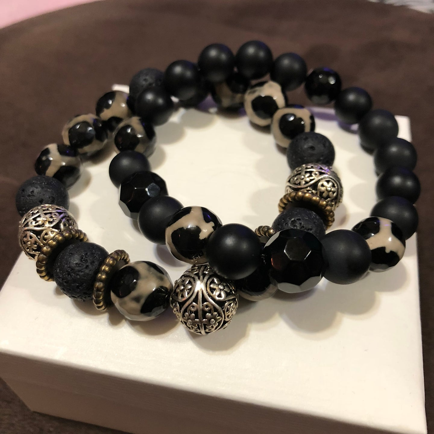 Men's brown Agate bracelet set with Lava Rocks Onyx Obsidian and Metal spacers