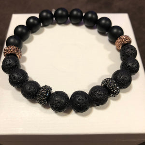 Men's Rose Gold Hematite Onyx & Lava Rock with Rose Gold CZ and Metal Accents