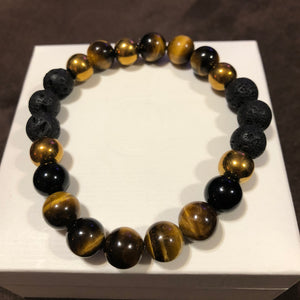 Men's Tigers Eye Lava Rock Obsidian & Gold Hematite