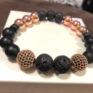 Men's Rose Gold Hematite Onyx & Lava Rock with Rose Gold CZ Accents
