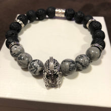 Men's Mapstone and Lava Rock with CZ Accent & CZ Spartan Helmet