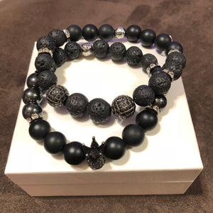 Men's Onyx Hematite and Lava Rock with Gunmetal CZ Accent & Gunmetal CZ Kings Crown