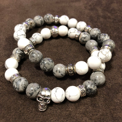 Men's Howlite and Map Stone Pair with Skull Accent