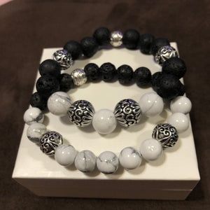 Men's Lava Rock and Howlite with large Metal Accents
