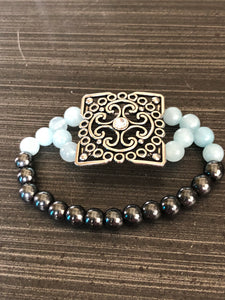 Aquamarine Hematite Crystals with Flower Accent