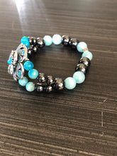 Aquamarine Hematite and Turquoise Crystals with Flower Accent
