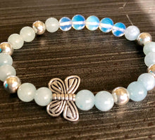 Aquamarine Hematite and Moonstone Crystals with Butterfly Accent