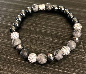 Hematite and Mapstone crystals with CZ Accents -Set