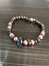 Rose Gold & Grey Hematite Beads with Black CZ Skull
