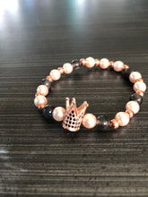 Rose Gold Hematite Smokey Quartz Freshwater Pearl and Rose Gold CZ Crown