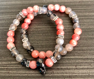 Pink Tourmaline & Dragons Vein Agate with Black CZ Skull