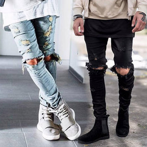 Ankle Zipper Distroyed Jeans