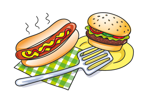 BBQ Food image full drawn and coloured