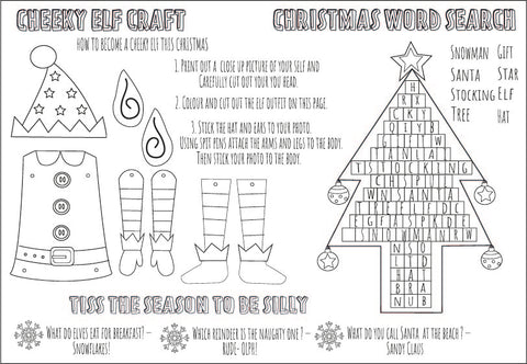 Christmas Elf Activity Sheet with Wordsearch