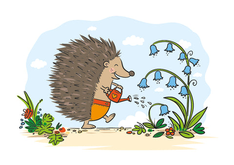 Cute Hedgehog watering some bluebells