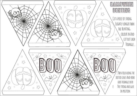 Halloween Bunting Sheet for print out and colouring