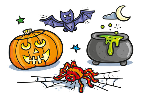 Halloween Spooky Picture, with Pumpkin, spiders and bats