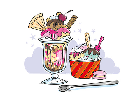 Ice Cream Sundae full drawn and coloured