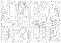 Thank you key workers window sign colouring sheet
