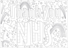 Thank You NHS window sign for colouring