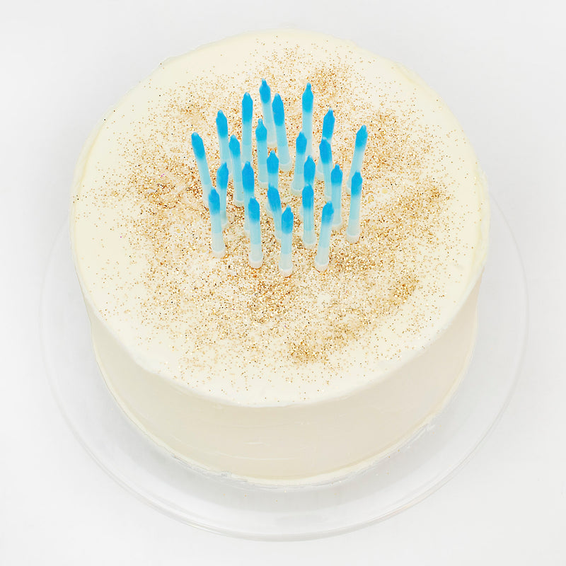 Blue Ombre Cake Candles with Holders (24 Pack)