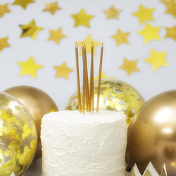Tall Gold Cake Candles with Holders (16 Pack)