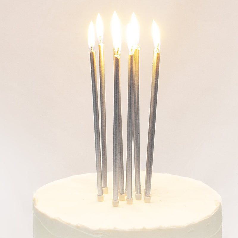 Tall Silver Cake Candles with Holders (16 Pack)