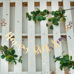 Pink Happy Birthday Stitched Garland