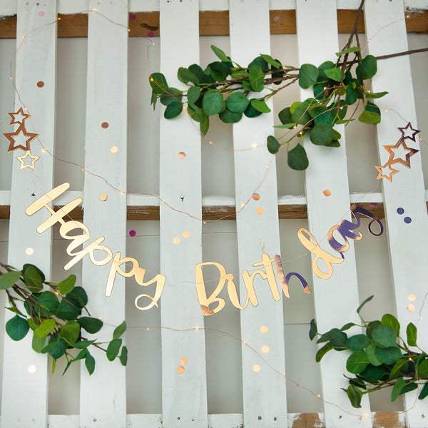 Pink Rose Gold Happy Birthday Stitched Garland