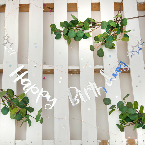 Silver Happy Birthday Stitched Garland