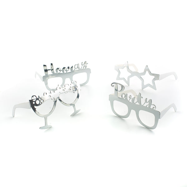 Silver Party Photo Prop Glasses