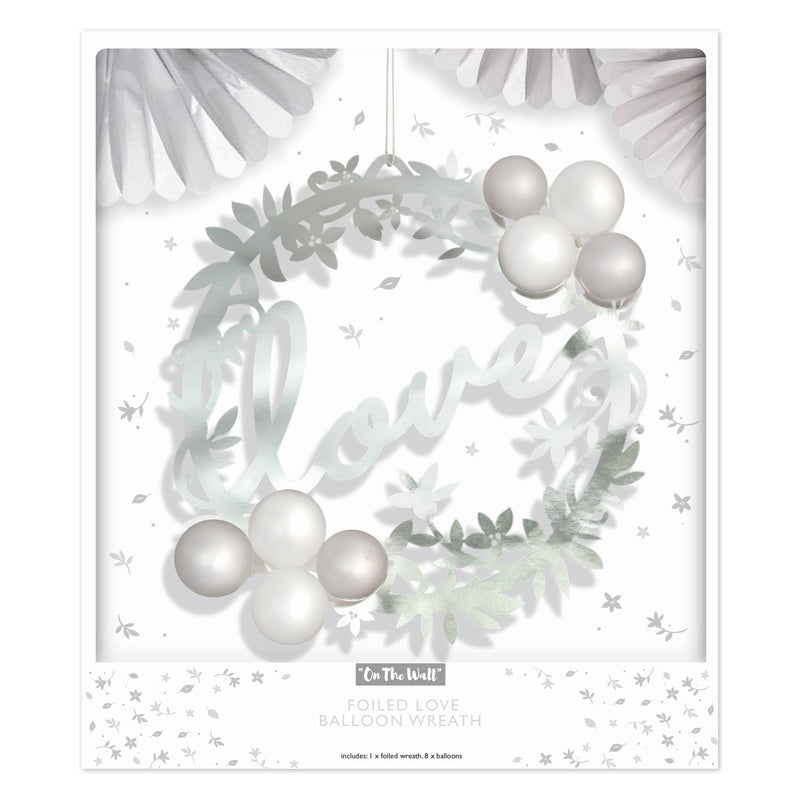 Silver Love Balloon Wreath