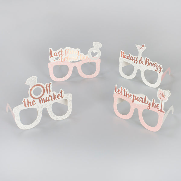 Rose Gold Hen Party Photo Prop Glasses