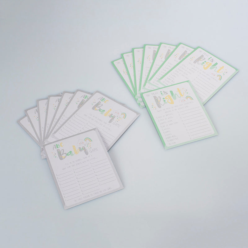 Hearts & Clouds Baby Shower Games Cards